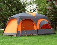 Une Salle Deux Chambre 5-8 personne Ultralarge Double Couche Haute Qualité Imperméable Coupe-Vent Camping Tente