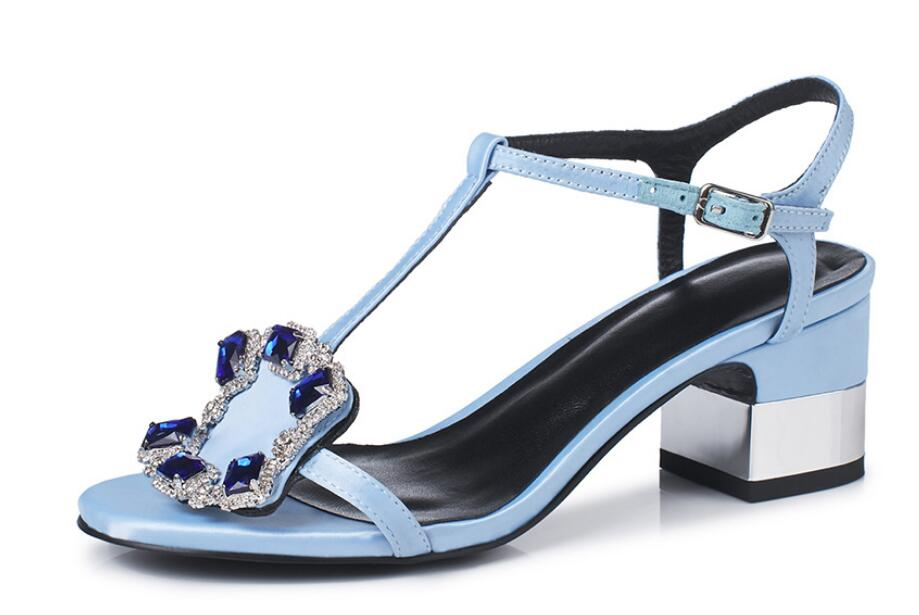 Mujer Para Tacón Zapatos Verano En Alto Cristal Pu Adornado Carole Cuero Sandalias Bordeado Levy Cuadrado La Con De 8PzxfnTwBq