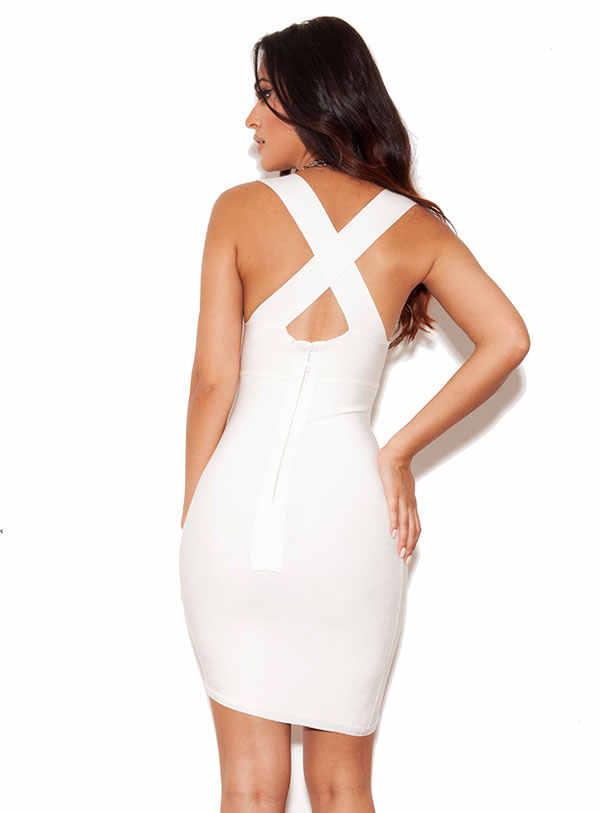 Новинка 2019 г. Kylie Jenner стиль знаменитостей Красный ковер Мода награды Белый Глубокий V Асимметричный передний Подол мини вечерние Бандажное платье
