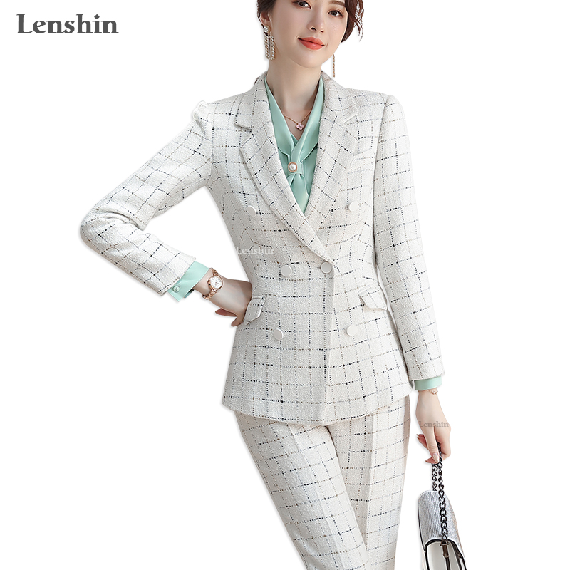 Lenshin High Quality 2 Piece Set Rough Formal Pant Suit Plaid Blazer Office Lady Uniform Designs Women Business Jacket And Pant