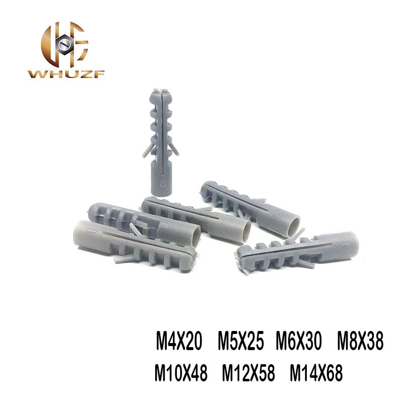 M4/M5/M6/M8/M10/M12/M14 Small Fish Gray Croaker Plastic Expansion Pipe Plastic Plug Is Self-tapping Screws