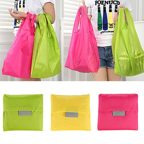 Large folding shoppingbag Storage Tote Handbag Eco Friendly nylon bags Foldable Waterproof ripstop Shoulder Bag