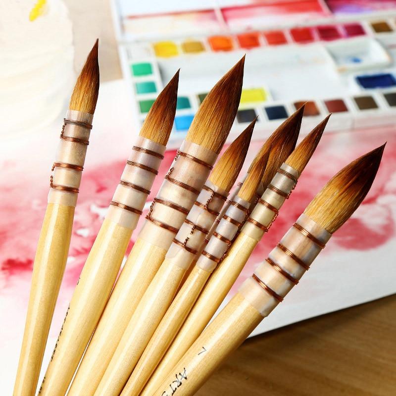 Korea Art Secret Nylon Hair Watercolor Pen Tip Yellow Fat Pen Pen Acrylic Oil Paint Painting Art Painting Art Supplies