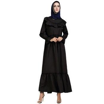 Muslim Summer Print Trumpet Sleeve Embroidery Party Dress Elegant Design Maxi Dresses Clothes z0415