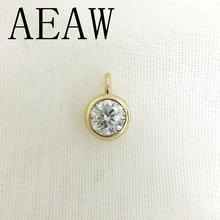 AEAW 10 Real Ouro Amarelo SURPREENDENTE 2ct e 0.4 Carat Lab Grown Moissanite Diamante do DF Cor Pendant & Colar Para mulheres