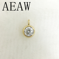 AEAW Real 10 Yellow Gold AMAZING 2ct and 0.4 Carat DF Color Lab Grown Moissanite Diamond Pendant &Necklace For Women