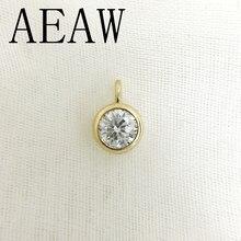 AEAW – pendentif et collier en or jaune pour femmes, 10 pièces, 2 carats et 0.4 Carat, en diamant Moissanite, produit de laboratoire