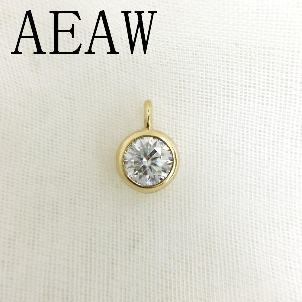 AEAW Real 10 or jaune incroyable 2ct et 0.4 Carat DF couleur laboratoire cultivé Moissanite diamant pendentif et collier pour les femmes