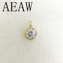 Aeaw 진짜 10 옐로우 골드 놀라운 2ct 및 0.4 캐럿 df 컬러 실험실 성장 moissanite 다이아몬드 펜던트 & 목걸이 여성을위한