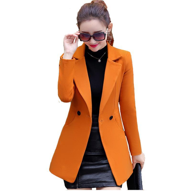 Hot Lady Basic Coats Fashion Elegant Vintage Winter Casual Formal Woolen Overcoat Coat Winter Jacket Women top Gray Gold Camel