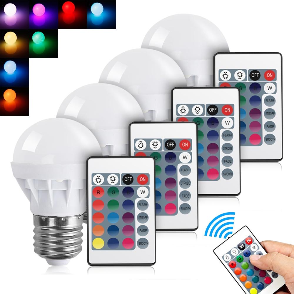 E27 LED 16 Color Changing RGB Magic Light Bulb Lamp 85-265V RGB Led Light Spotlight + IR Remote Control Free Shipping