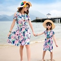 free shipping New summer Family dresses kids girl dress beach dress women girls dresses