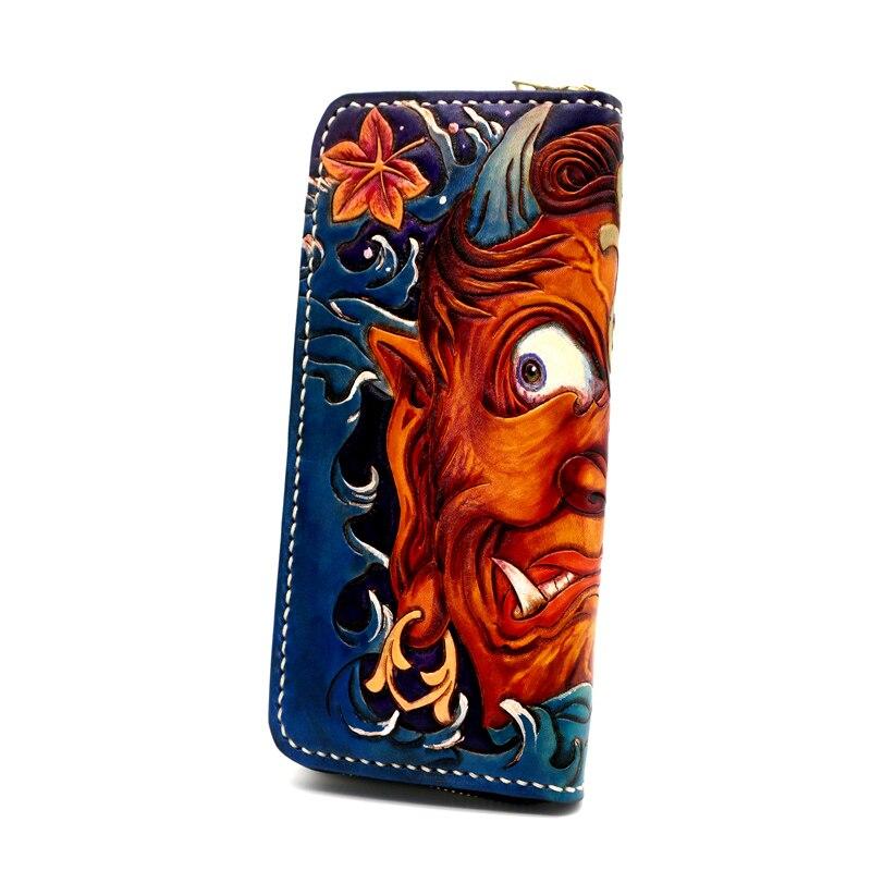 Femmes véritable porte cartes en cuir couleur portefeuilles Sakyamuni diable sac sacs à main hommes embrayage en cuir tanné végétal Long portefeuille cadeau - 5