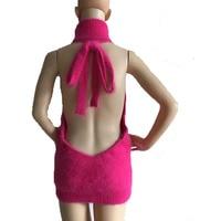 LOVELYDONKEY Genuine Mink Cashmere Sweater Women Backless Vest Pure Mink Vest Sweater Free ShippingM618