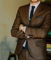 Brown HerringBone Tweed Suits Men Retro Ternos Groom Wedding Suits For Men Formal Suits Tweed Jacket Men 2 Pieces Jacket+Pants