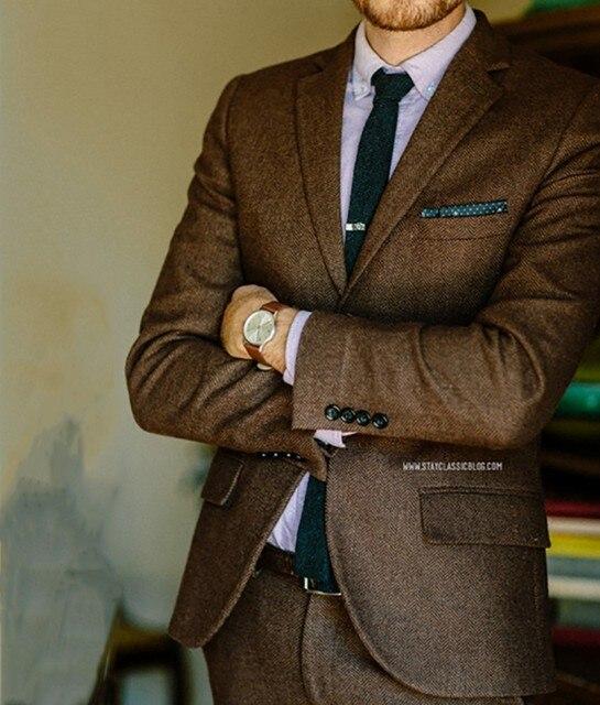 7fcddd0c1da4f Brązowy w jodełkę Tweed garnitur mężczyźni klasyczne mężczyzn garnitur pana  młodego garnitury ślubne dla mężczyzn formalne