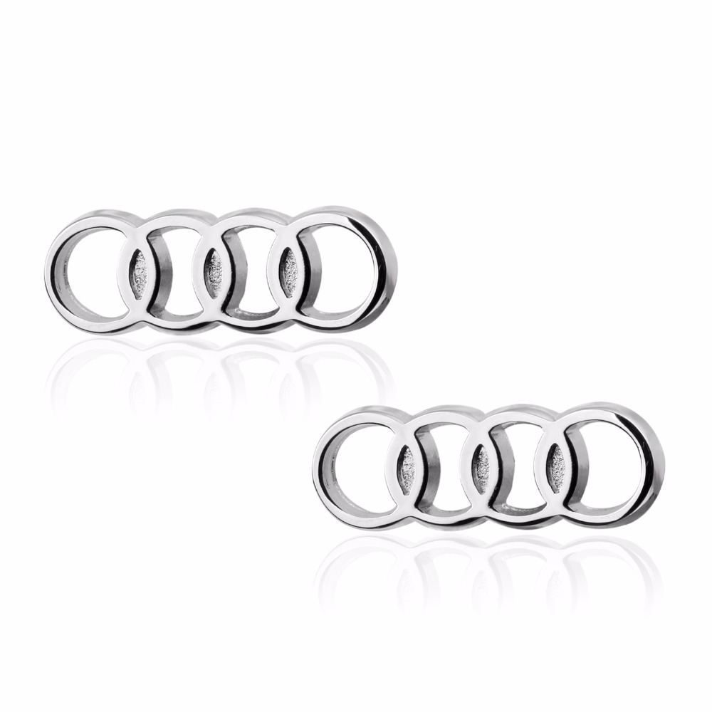 HYX Jewelry square silver car logo Brand Cuff Buttons French Shirt Cufflinks For Mens Fashion Cuff Links
