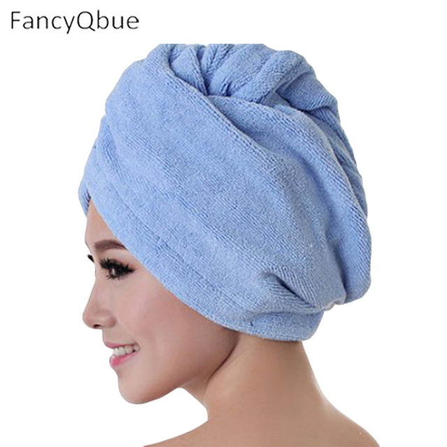 FancyQbue 1Pcs Strong dry hair cap towel Superfine fiber shower cap Wipe the hair dry Thickened package scarf