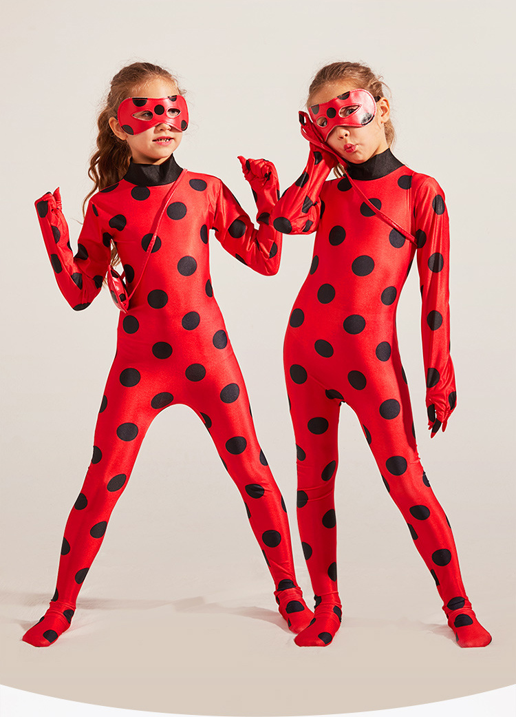 OHINGLT Girls Cosplay Child Costume Black Spot Red Suit with Blue Wig for Birthday Party Little Beetle Suit 8pcs Sets