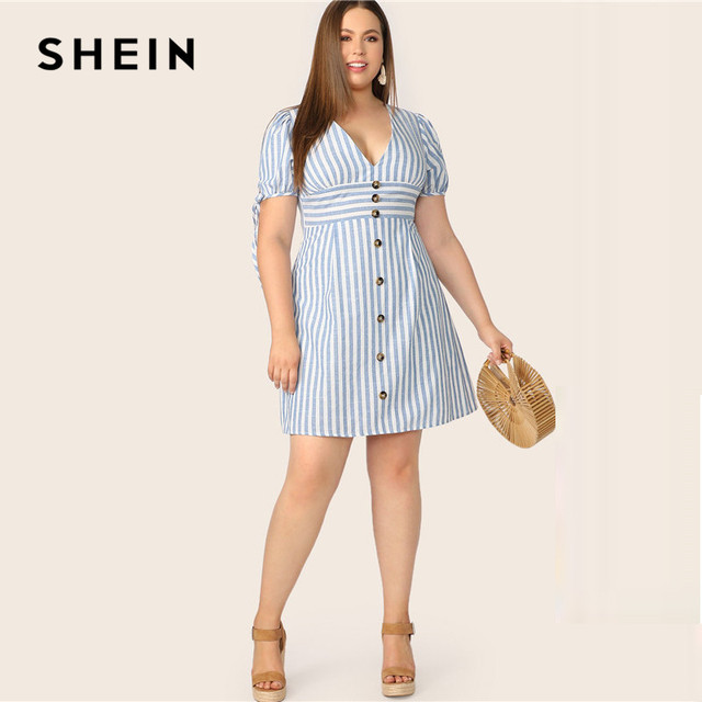 SHEIN Plus Size Blue Deep V Neck Button Front Tied Cuff Striped Dress Women 2019 Summer A Line Boho High Waist Plus Size Dress 3