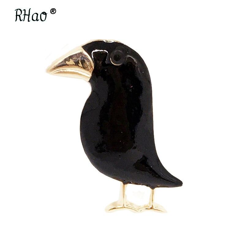 Купить мужская/женская брошь в виде вороны черная форме птицы на эмали