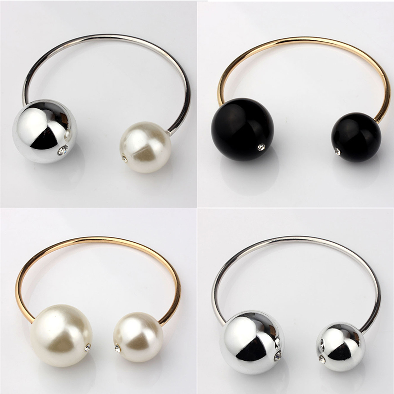 VIVILADY Fashion Double Imitation Pearl Bangles Women Gold Color White Black Round Beads Bracelet Female Crystal Gift Cuff