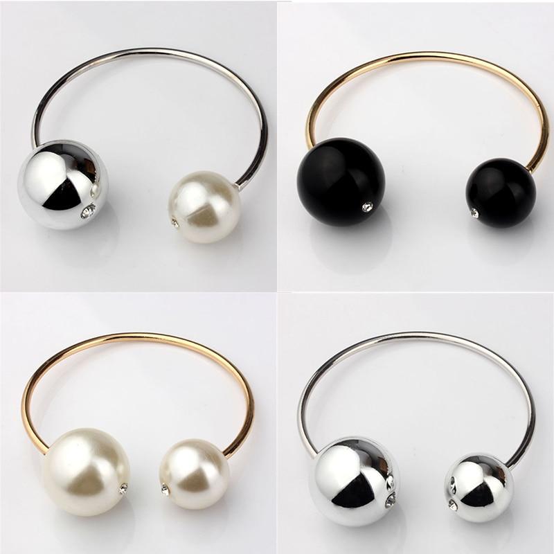 VIVILADY modes dubultā imitācijas pērļu aproces sievietēm zelta krāsa balta melna apaļa pērļu aproce sieviešu kristāla dāvanu aproce