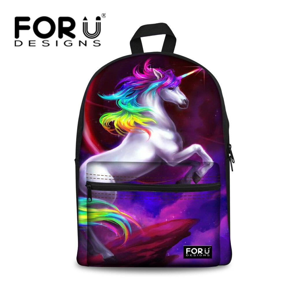 FORUDESIGNS Children School Backpack Animal Horse Printing Backpack for Teenager Girls Kids Women Casual Travel Rucksack Mochila