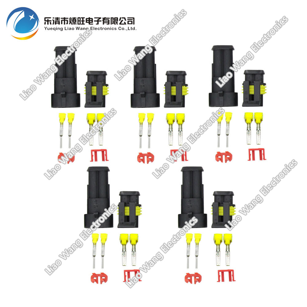 5 sets 2 Pin AMP 1.5 Connectors,DJ7021-1.5 Waterproof Electrical Wire Connector Plug, Xenon lamp connector Automobile Connectors 10sets kit bleed valve connector natural gas connector 13602619 1j0 973 702 waterproof auto 2pin connectors