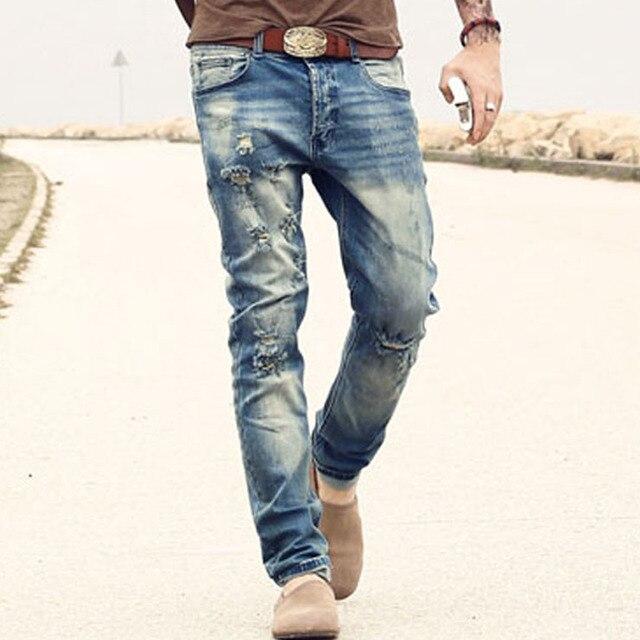 Новинка 2017 Мужские джинсы Рваные Штаны корейский стиль эластичные повседневные штаны классные стрейч человек джинсы сезон весна-лето