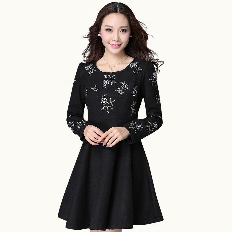 e60e25ea85ce Nouveau 2015 femmes automne hiver robe de laine manches longues pincé  taille broderie élégante robe de bal robe plus size robes XXXXL