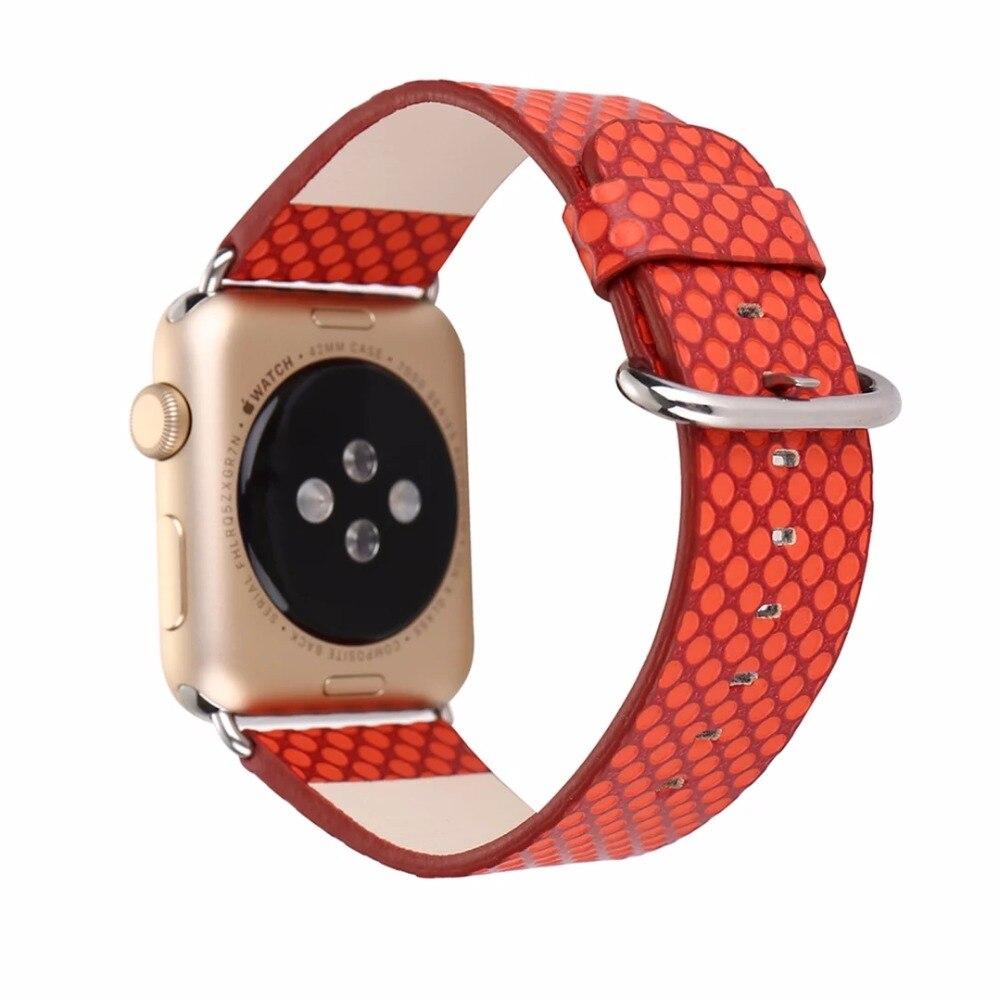 Prix pour Rouge Orange Bleu Noir Dot Peinture PU Cuir Montre-Bracelet de Courroie De Bande pour Apple Montre 38/42mm De Mode sport Bracelet I134.