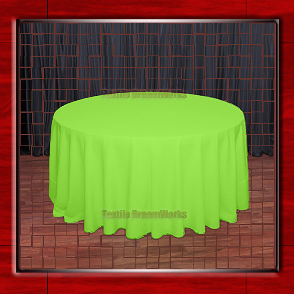 "Hot Sale  132"" R Neon Green Round Table Cloth Polyester Plain Table Cover for Wedding Events &Party Decoration(Supplier)"
