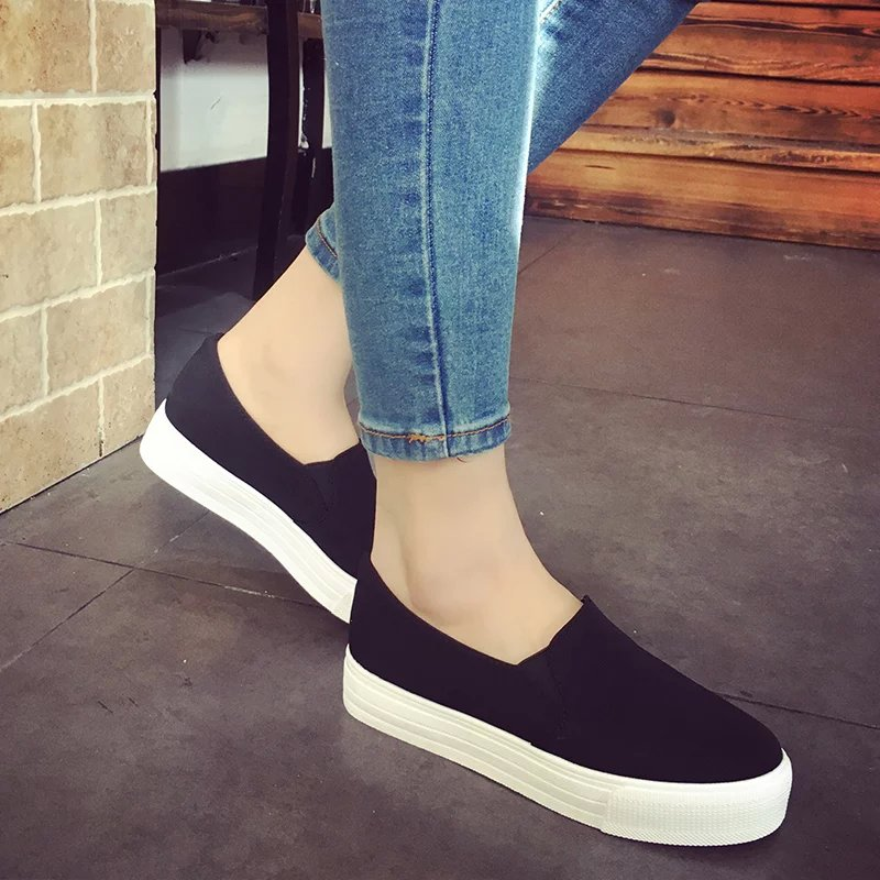 Promotional 2016 Casual Flat Heel Bow Knot Round Toe Slip On Black Loafer Shoes Autumn Comfortable