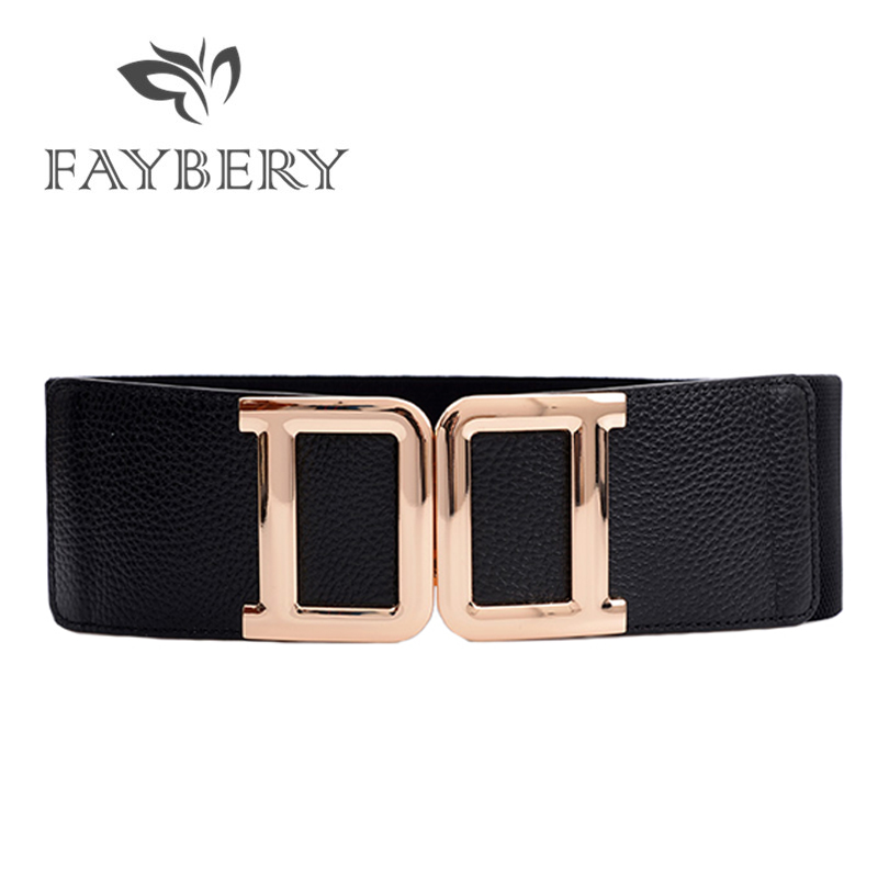 2019 Boho D Buckle Wide Women Belts for Women Elastic Stretchy Waistband Golden Buckle Waist Belt Cummerbund for Jeans Pants