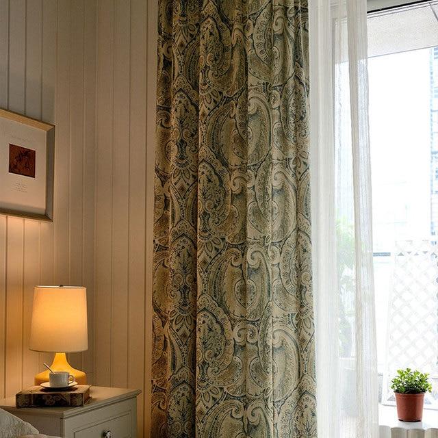 American Vintage Style Brown Drapes Totem Patterns Room Dividers