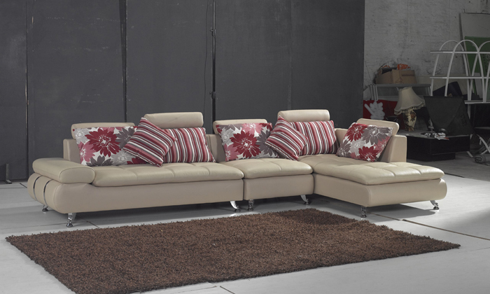 Free Shipping 2013 New Design Home Furniture Top Grain Leather L Shaped Multi Combination Sofa