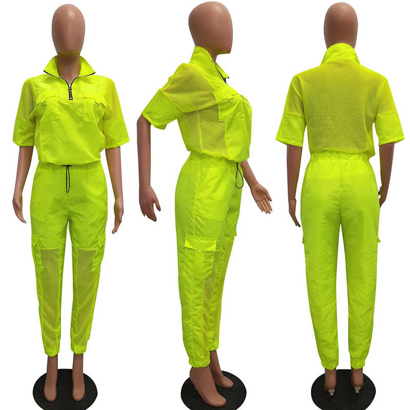 2 A DUE PEZZI SET vestiti di Cucitura della Maglia Mezza Manica Cargo Pantaloni Delle Donne Tuta Giacca di Raso DELLA CHIUSURA LAMPO Sudore Si Adatta Alle Tute di Estate Sportsuit