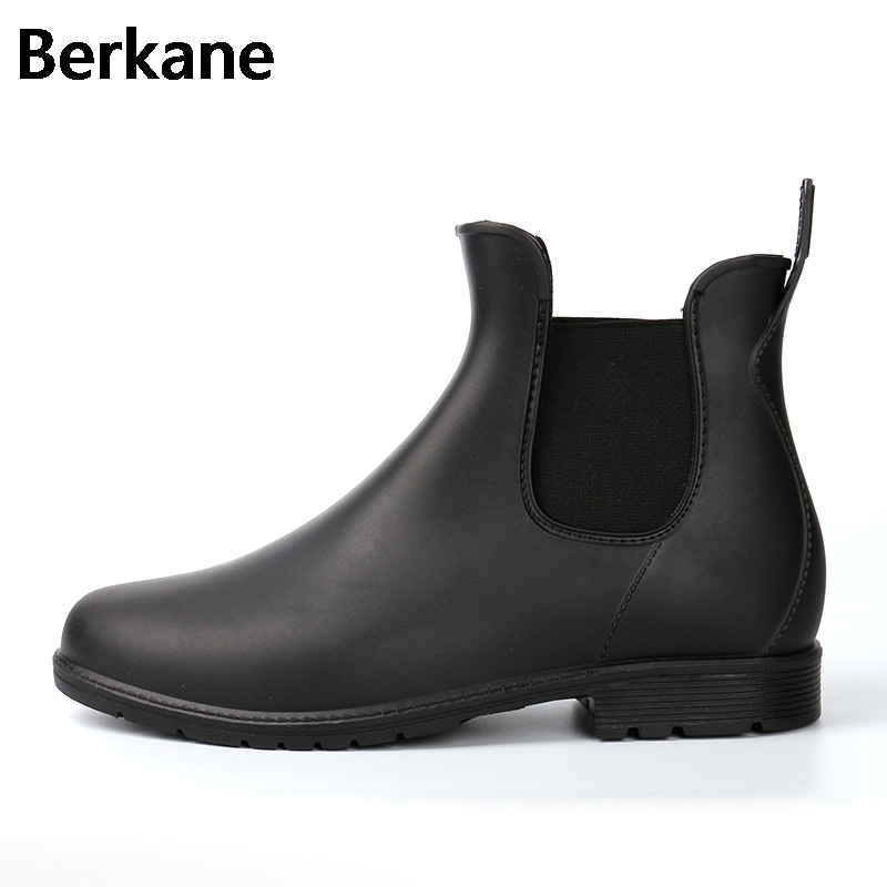 Ladies Pvc Ankle Rain Boots Big Size 43 Female Waterproof Fashion Brand Rubber Women Water Shoes Woman Rainboots Hot Sale rain boots women pvc prince waterproof high heel water shoes tall rain boots ankle gummis rain boots female rubber toe rainboots