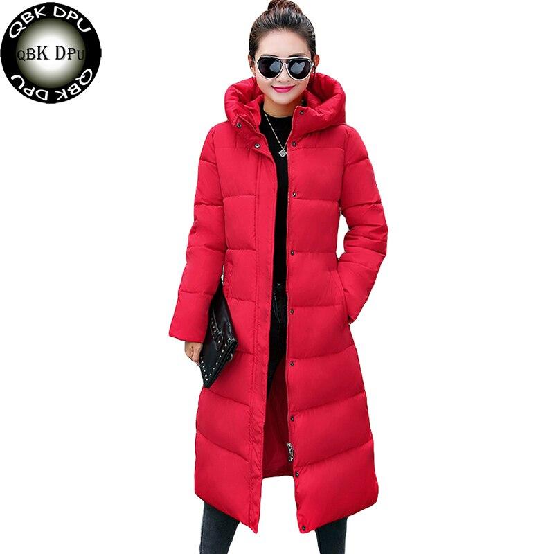Women Long Fashion Hooded   Parkas   2018 Autumn Winter New Korean Pure color Down Cotton Pattern Jacket Slim Warm Coat outwear