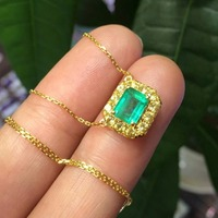 Natural emerald,18K Gold and natural Yellow blue gemstone,Bare stone 1.7ct,Bare stone specification 7.5 * 5.8mm