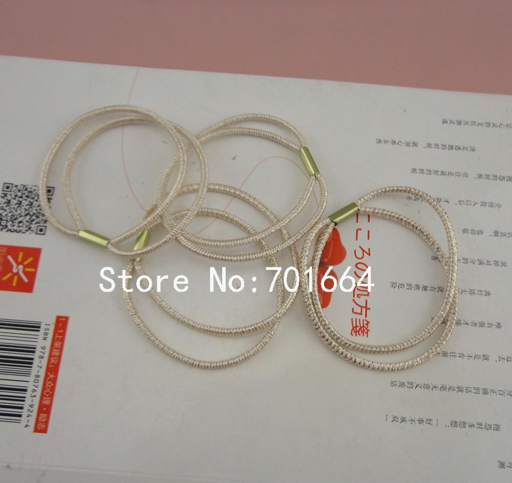 50PCS 2.5mm Double Circles Glitter Rose Golden Elastic Ponytail Holders,16.0cm length bling bling elastic hair ties