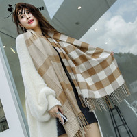 Designer Scarf Women Luxury 2018 Winter Warm Tartan Cashmere Shawl Thickened Scarves Wool Scarf Plaid Female Scarves And Shawls