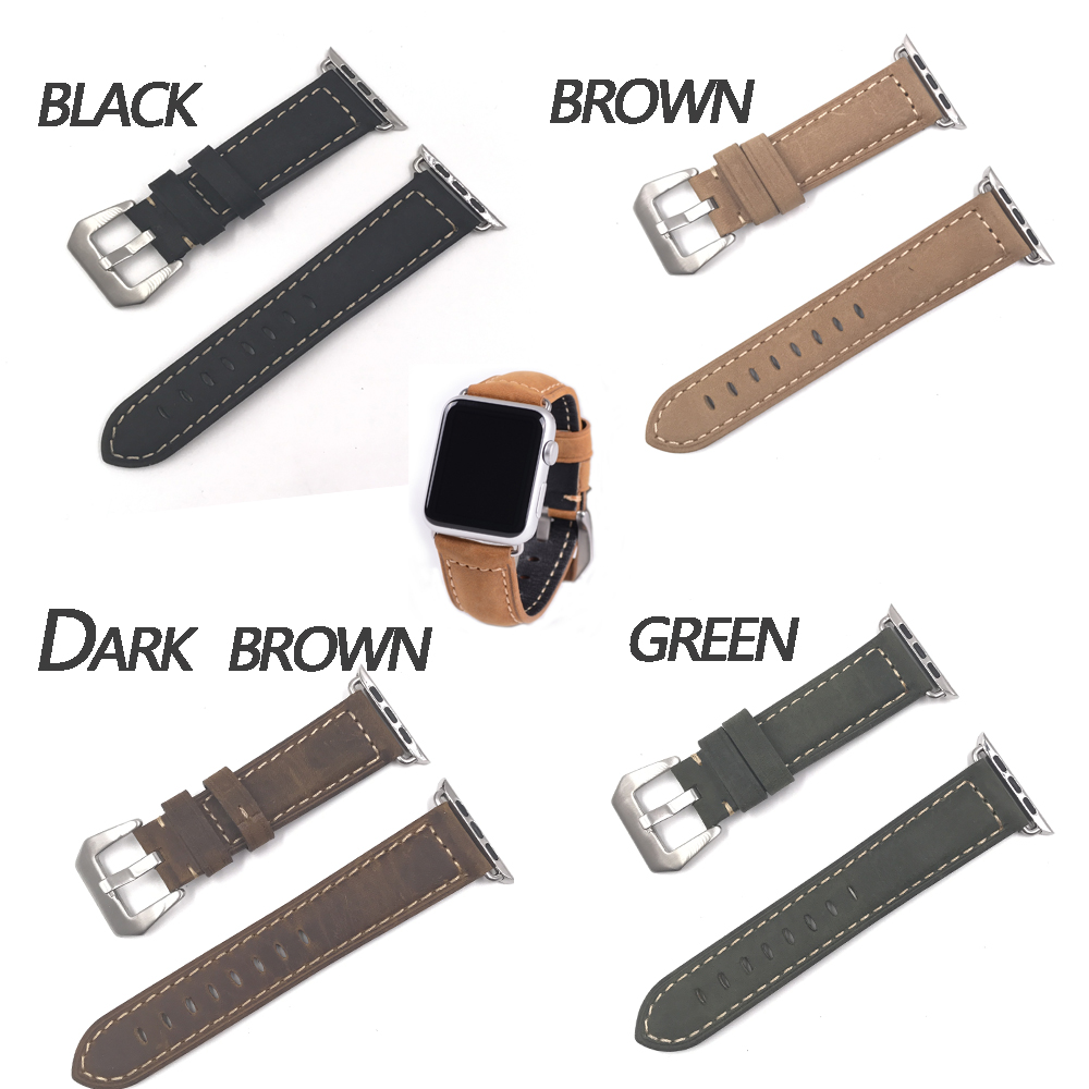 Joyozy Series 2/1 100%  Genuine Leather Watch Band Strap For Apple Watch Band 42MM/38MM for iWatch Sports Business  Buckle woven canvas casual sports watch band iwatch strap genuine leather watch belt for apple watch