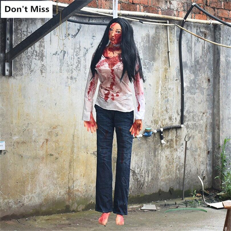 Décor sanglant maison hantée Prop Halloween décoration effrayant chambre pendaison femme fantôme horreur Zombie cadavre Simulation Latex cadavre