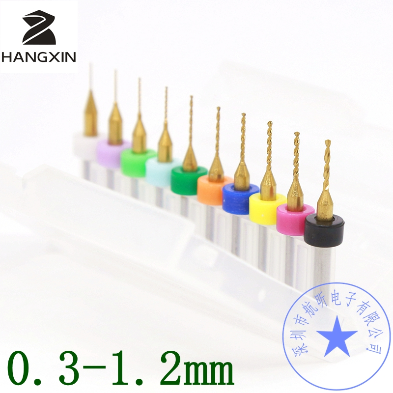 10PCS Titanium Coating PCB Drill Kit 0.2-1.2 mm, CNC Router Tool, Tungsten Carbide Metal Drill Bit Drill Set Woodworking tools