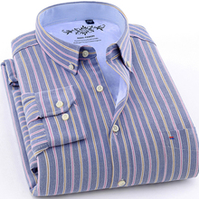 2018 Winter Warm New Arrived mens work shirts striped Long sleeve social men dress shirt oxford male Plus size 4XL Thick