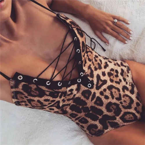 2019 New One-Piece Womens Swimsuit Leopard Bikini Push-up Bathing Suit Swimwear Monokini Beachwear Biquini