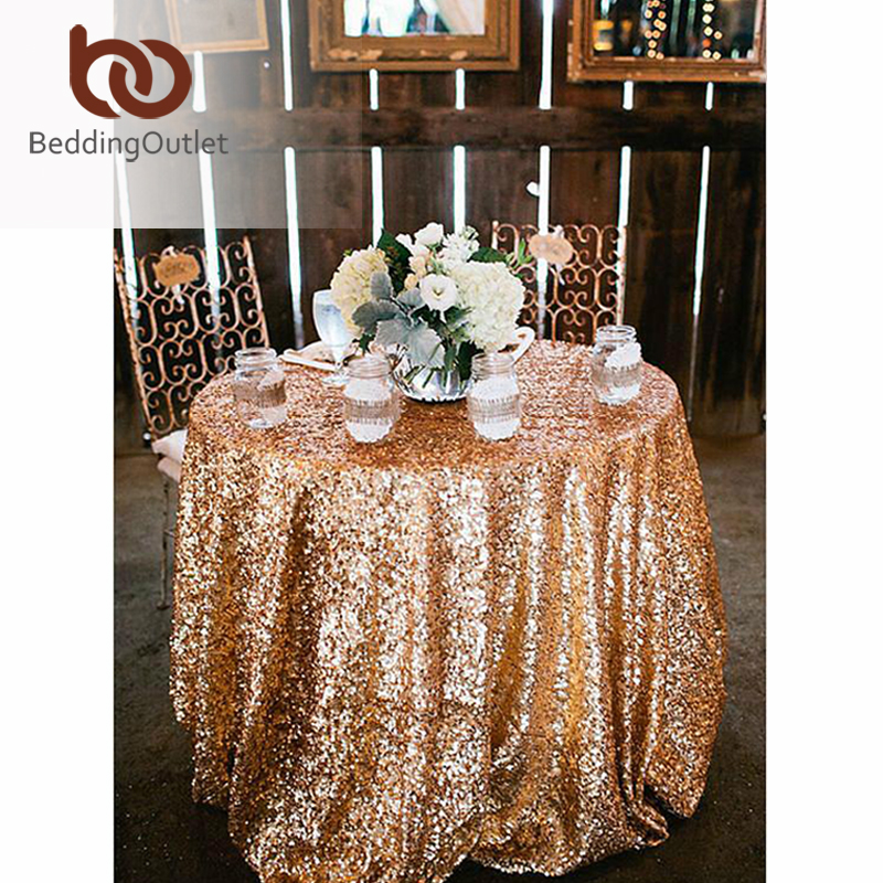 BeddingOutlet Round Sequin Tablecloth For Wedding Party Gold Silver  Champagne Colorful Table Cloth Decoration Bling Table