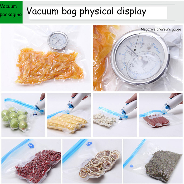 5pcs Reusable Food Vacuum Sealed Bag Handheld Food Sealing Packaging Machine Kitchen